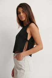 Trendyol Side Tie Top - Black