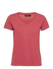 Sl Columbine V-neck Ss T-shirt Top Lyserød Soaked In Luxury