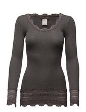 Silk T-shirt Medium Ls W/wide Lace Langærmet T-shirt Grå Rosemunde