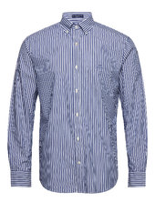 Reg Broadcloth Stripe Bd Skjorte Casual Blå Gant