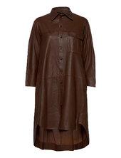 Chili Thin Leather Dress Knælang Kjole Brun Mdk / Munderingskompagniet