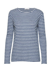Nobel Ls Stripe 3173 Langærmet T-shirt Blå Samsøe Samsøe