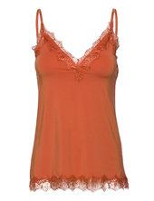 Strap Top Bluse Ærmeløs Orange Rosemunde