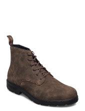 Bl Lace Up Leather Boot Snørestøvler Brun Blundst