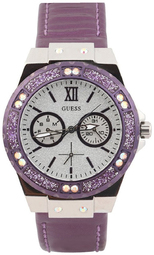 Guess Limelight Dameur W0775l6 Sølvfarvet/læder Ø38 Mm
