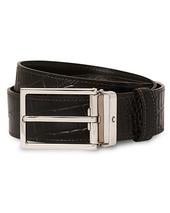 Montblanc Square Buckle Alligator Printed 35mm Leather Belt Brown