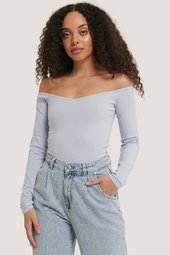 Na-kd Off Shoulder Jerseytop - Blue
