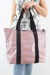 Holographic Tote Bag Rush - Woodrose - Rains - Lyserød One Size