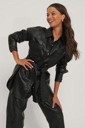 Na-kd Trend Pu-skjorte Med Lomme Og Bælte - Black
