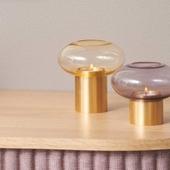 Mush Lysestage Amber Og Messing - Medium