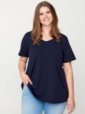 Zizzi Mørkeblå Basis T-shirt I Bomuldsjersey, 50-52 / L