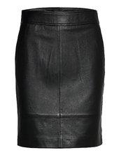Francie Mini Leather Skirt Kort Nederdel Sort Second Female