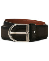 Montblanc Horseshoe Buckle Belt 35mm Grey Suede