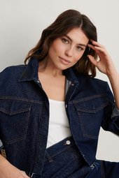 Na-kd Trend Cropped Denim Raw Hem Shirt - Blue