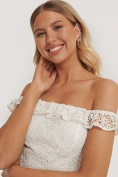 Pamela X Na-kd Reborn Genanvendt Off Shoulder Blondetop - White