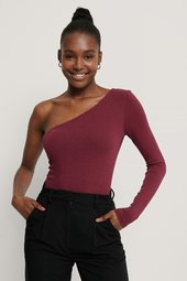 Na-kd One Shoulder Top - Burgundy