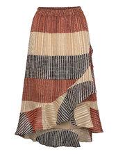 Board Mw Wrap Skirt Knælang Nederdel Multi/mønstret Second Female