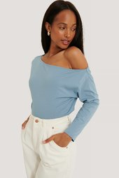 Na-kd Økologisk Off Shoulder Langærmet Top - Blue