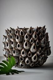 Blowfish Vase - Rund Grå