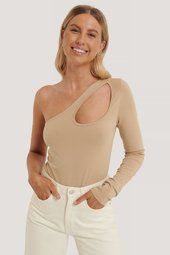 Na-kd Trend One Shoulder Cut Out Bodystocking - Beige
