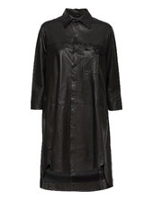 Chili Thin Leather Dress Kort Kjole Sort Mdk / Munderingskompagniet
