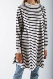 Isa Dress - Off-white/navy Stripes - Wood Wood - Hvid S