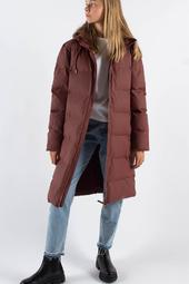 Long Puffer Jacket - Maroon - Rains - Rød M/l