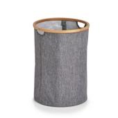 Vasketøjskurv Rund - Grå/bambus