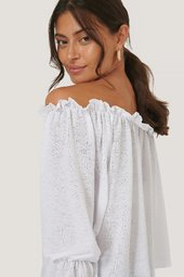 Na-kd Off Shoulder-top Med Bølget Hem - White