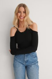 Na-kd Trend Genanvendt Off-shouldertop Med Bindedetalje - Black