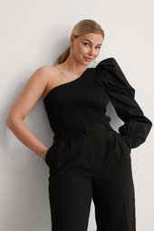 Na-kd Party One Shoulder Top Med Pufærmer - Black