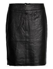 Cuberta Leather Skirt Knælang Nederdel Sort Culture