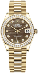 Rolex Datejust 31 Dameur 278288rbr-0032 Sort/18 Karat Guld Ø31 Mm