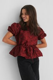 Na-kd Party Structured Drawstring Top - Burgundy