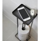Toiletrulleholder Til Gulv Med Hylde - Sort
