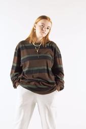 Boxy Tee Long Sleeve - Dark Stripes - Han Kjøbenhavn - Stribet M