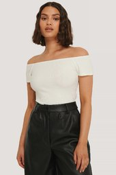 Na-kd Basic Kortærmet Off-shoulder-top - Offwhite