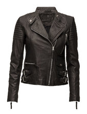 City Biker Leather Jacket Læderjakke Skindjakke Sort Mdk / Munderingskompagniet