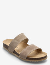 Twin Strap Slip In Shoes Summer Shoes Flat Sandals Beige Bianco