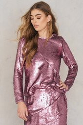 Glamorous Frill Sequin Top - Pink
