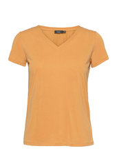 Sl Columbine V-neck Ss T-shirt Top Guld Soaked In Luxury