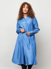 Aprico Lang Blå Skjortekjole I Eksklusiv Bæredygtig Tencel Kvalitet, 54-56 / Xl