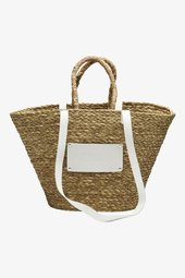 Large Beach Bag - Nature W. White Details - One Size Brun