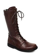 Long Boot With Laces. Lange Støvler Brun Angulus