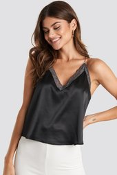 Na-kd Trend Contrast Lace Satin Cami Top - Black