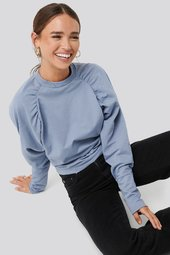 Na-kd Oversized Raglan Sleeve Detailed Sweater - Blue