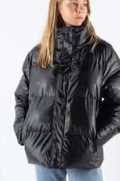 Boxy Puffer Jacket - Shiny Black - Rains - Sort Xxs/xs