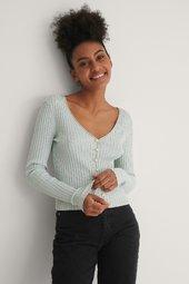 Na-kd Trend Strikcardigan Med Perledetaljer - Blue