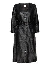 Slfjohanne 7/8 Leather Dress W Knælang Kjole Sort Selected Femme