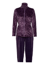 Decoy Velour Homewear Set Pyjamas Nattøj Lilla Decoy